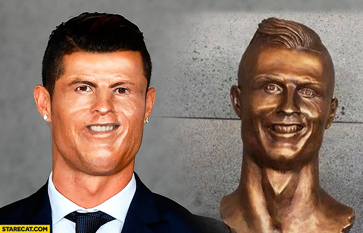 Cristiano Ronaldo bust statue sculpture figure face fail photoshopped comparison