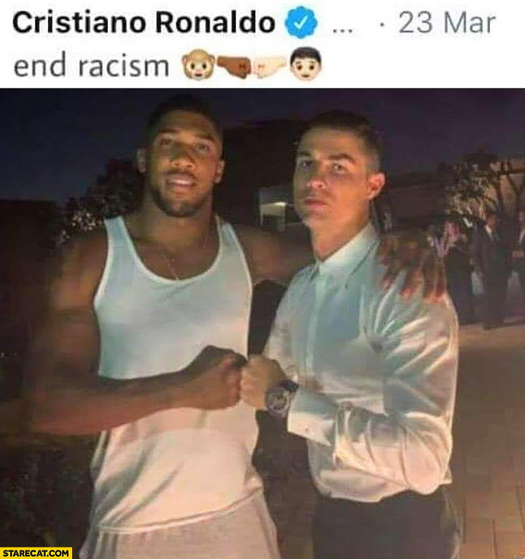 Cristiano Ronaldo end racism emoji fail black man monkey