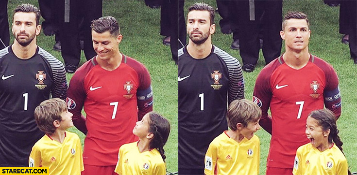 Cristiano Ronaldo Euro football match happy kids escort