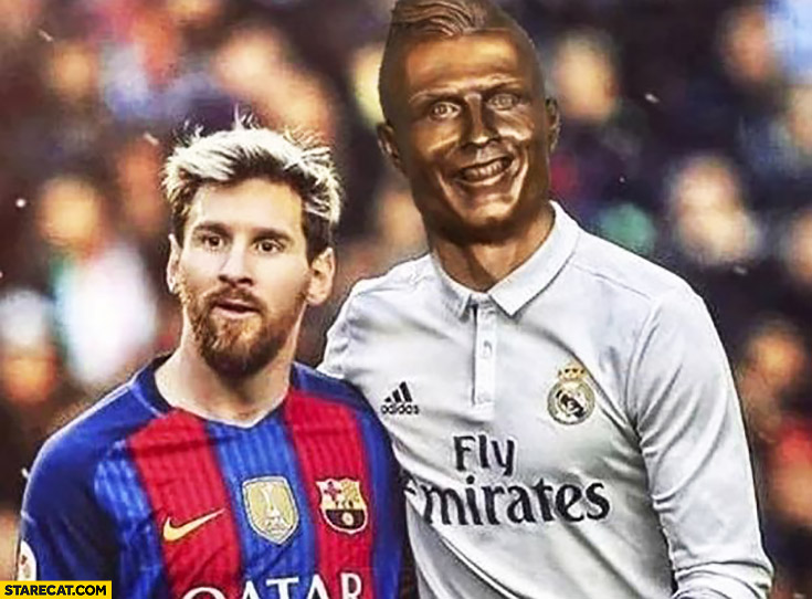 Cristiano Ronaldo sculpure bust statue fail photoshopped with Lionel Messi