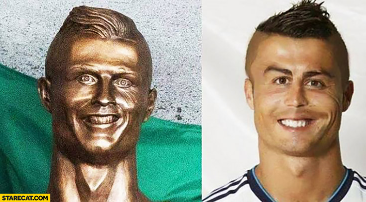 Cristiano Ronaldo sculpure bust statue fail real face photoshopped comparison