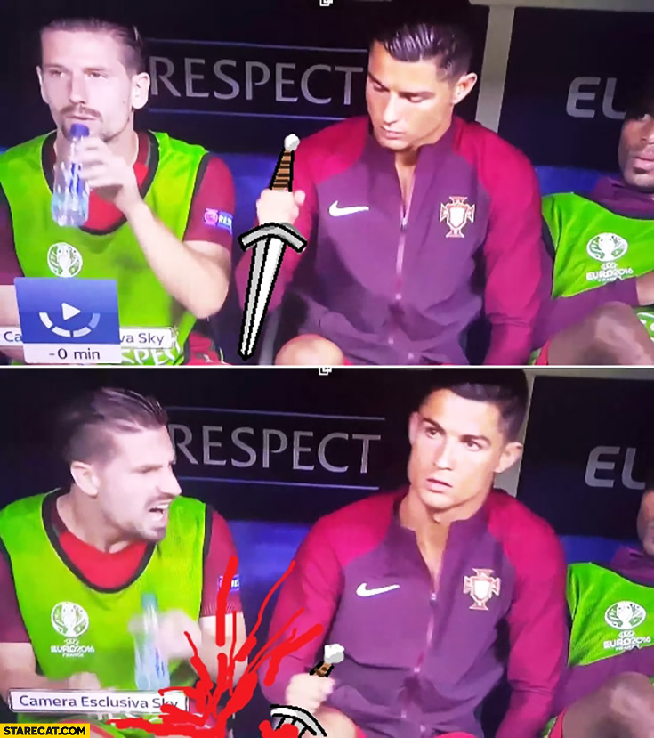 Cristiano Ronaldo sword into teammate knee silly drawing