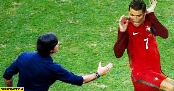Cristiano Ronaldo won't shake hand with Joachim Loew silly picture
