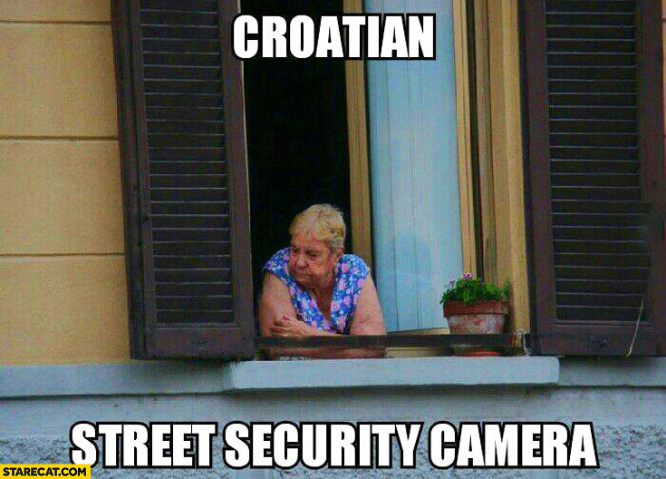 Croatian street security camera old lady window