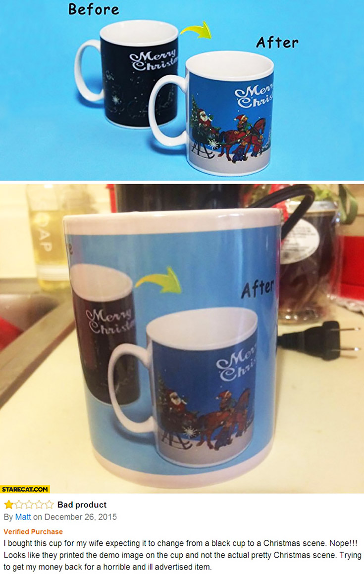 Cup design fail review on Amazon supposed to change colour Merry Christmas scene printed demo image