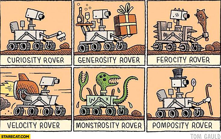 Curiosity rover, generosity rover, ferocity rover, velocity rover, monstrosity rover, pomposity rover
