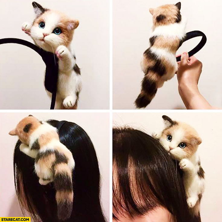 Cute kitty hair strap for women gadget