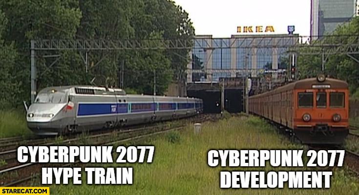 Cyberpunk 2077 hype train vs development train comparison