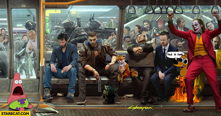 Cyberpunk 2077 meme characters photoshopped creative collage