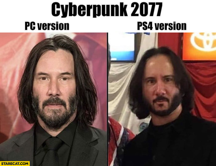 Cyberpunk 2077 PC version vs PS4 version Keanu Reeves comparison