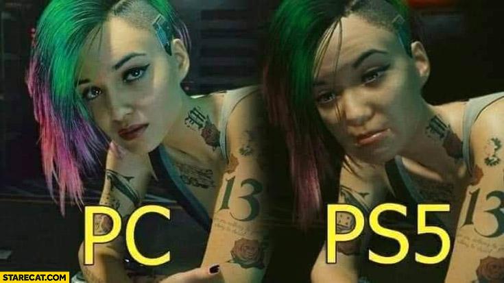 Cyberpunk PC vs PS5 girl appearance comparison