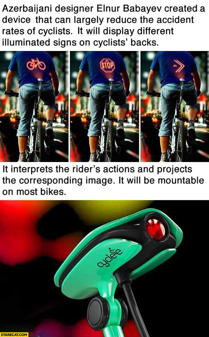 Cyclee displays illuminated signs on cyclists' backs