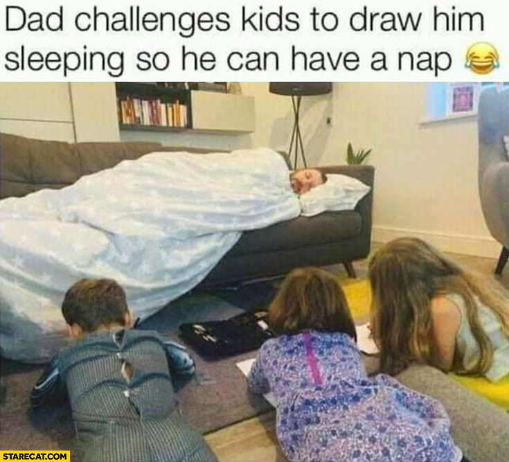 Dad challenges kids to draw him sleeping so he can have a nap