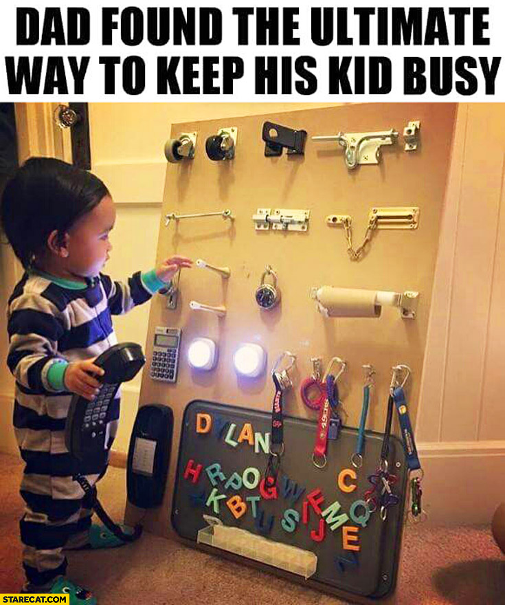 Dad found the ultimate way to keep his kid busy wall with moving parts