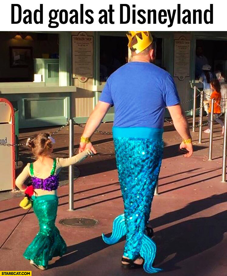 Dad goals at Disneyland dressed as a mermaid