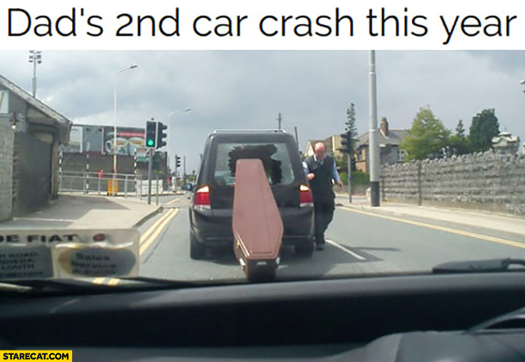 Dad's 2nd car crash this year coffin fell out of a car
