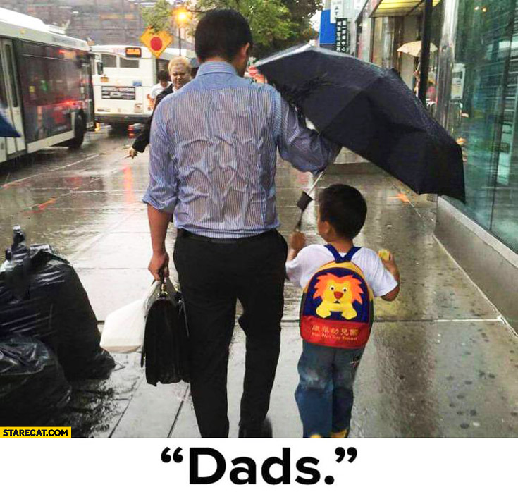 Dad's umbrella kid parent totally wet
