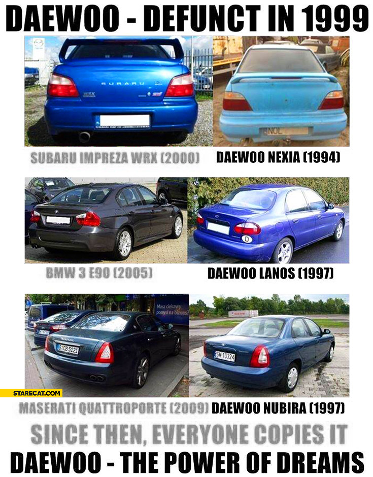 Daewoo defunct in 1999 since then everyone copies it Daewoo the power of dreams