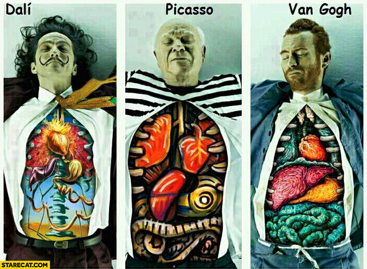 Dali, Picasso, van Gogh organs chest painting