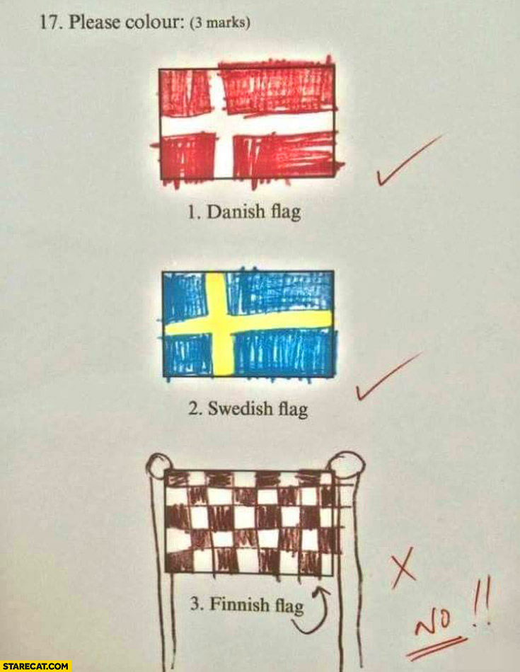 Danish flag, Swedish flag, Finnish flag fail finish