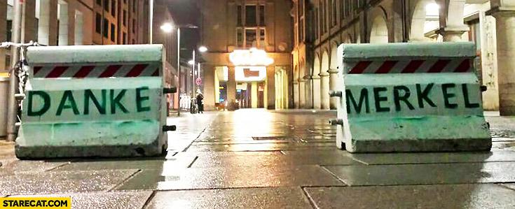 Danke Merkel written on a road blockade