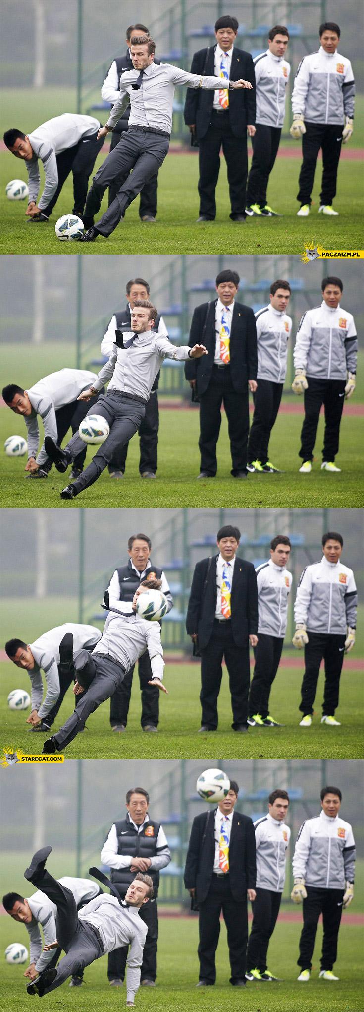 David Beckham collapses falls after free kick