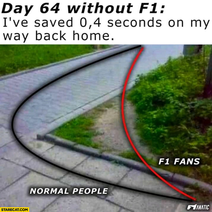 Day 64 without F1 formula one I've saved 0.4 seconds on my way back home shortcut