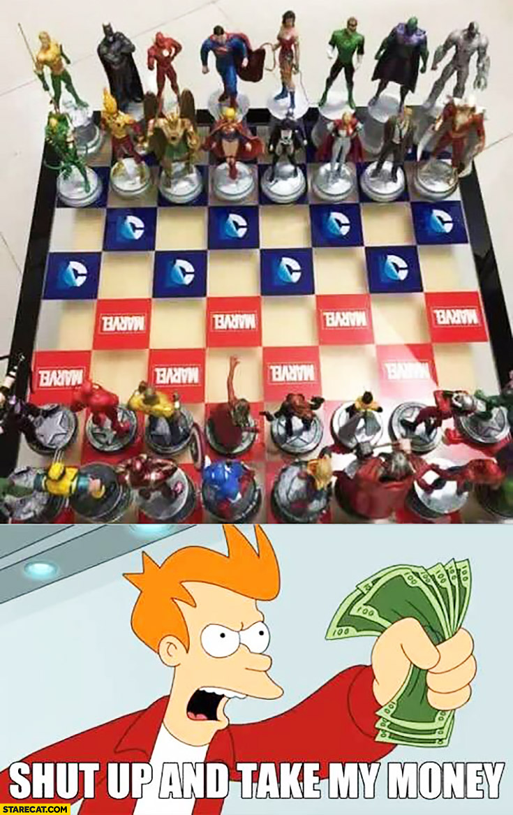 DC vs Marvel chess game. Shut up and take my money