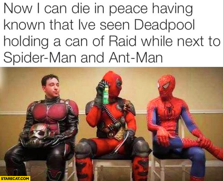 Deadpool holding a can of RAID while next to Spider-man and Ant-man