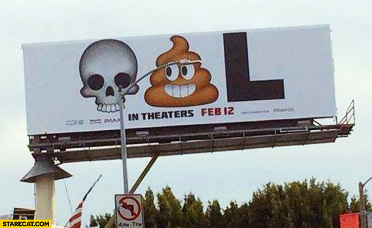 Deadpool meme billboard AD: skull, poo, letter L