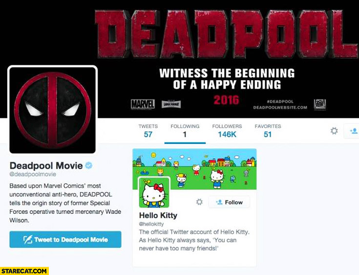 Deadpool movie following only Hello Kitty on twitter