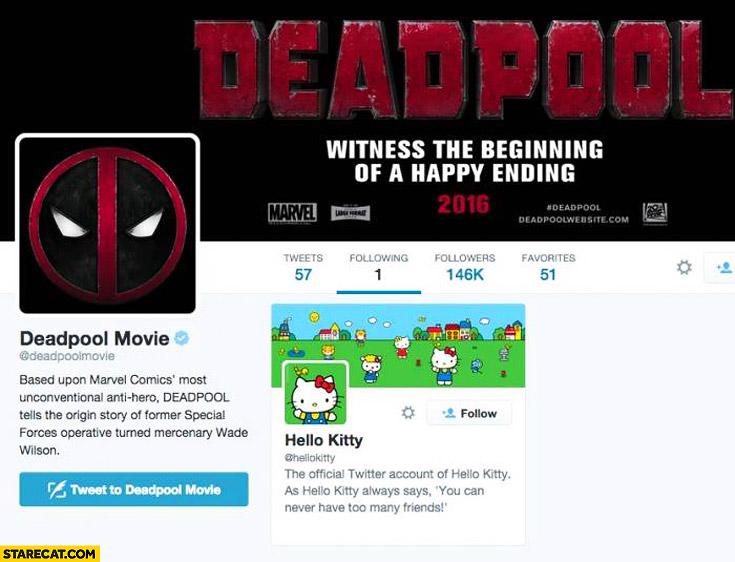 Deadpool movie following only Hello Kitty on twitter
