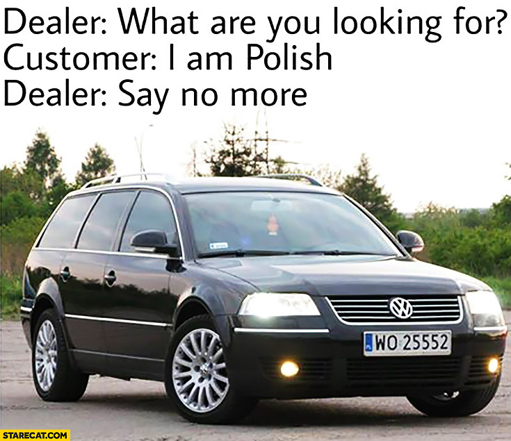 Dealer: what are you looking for? Customer: I'm Polish. Dealer: say no more Volkswagen Passat TDI Estate B5 Diesel