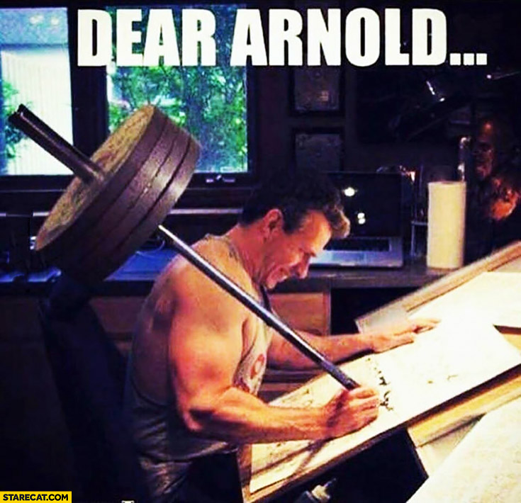 Dear Arnold man writing a letter with a barbell