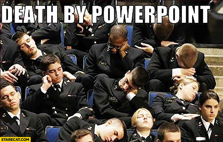 Death by Powerpoint people sleeping on a presentation
