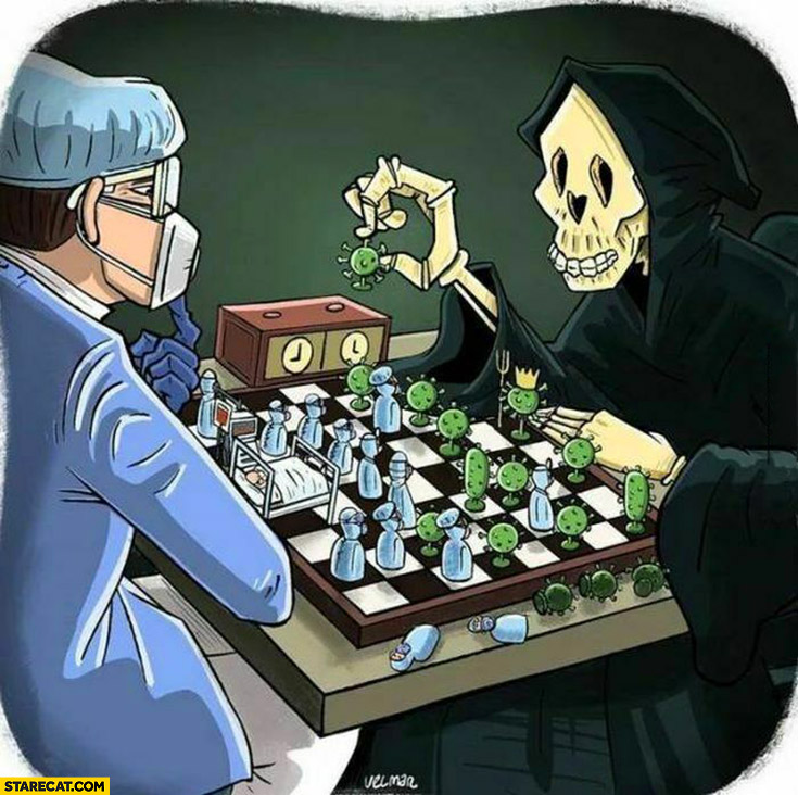 Death playing coronavirus chess with a doctor