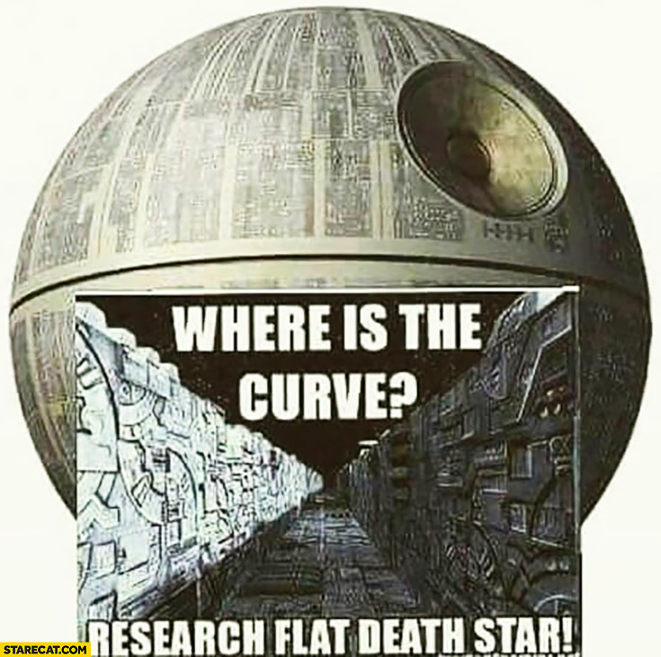 Death Star where is the curve? Research flat death star flat earth Star Wars