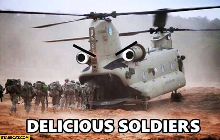 Delicious soldiers helicopter