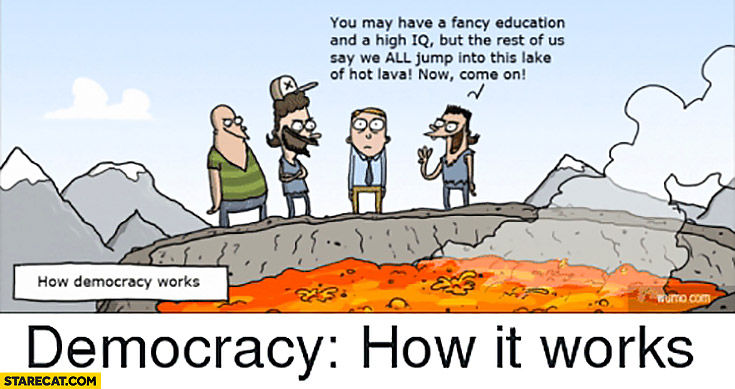 Democracy how it works: you may have fancy education and high IQ but the rest of us say we all jump into this lake of hot lava