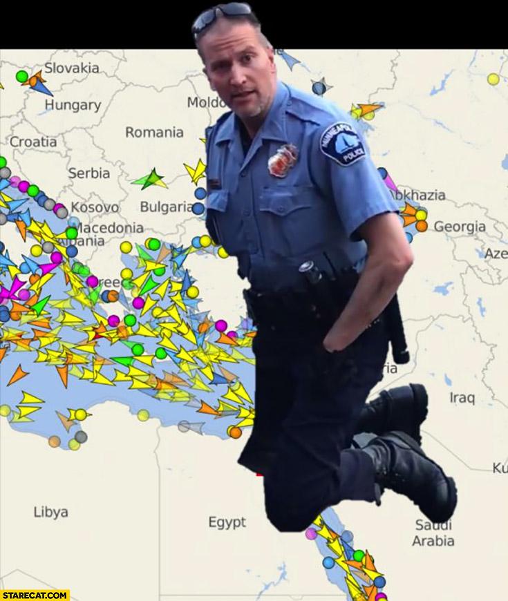 Derek Chauvin blocking suffocaing Suez canal George Floyd policeman