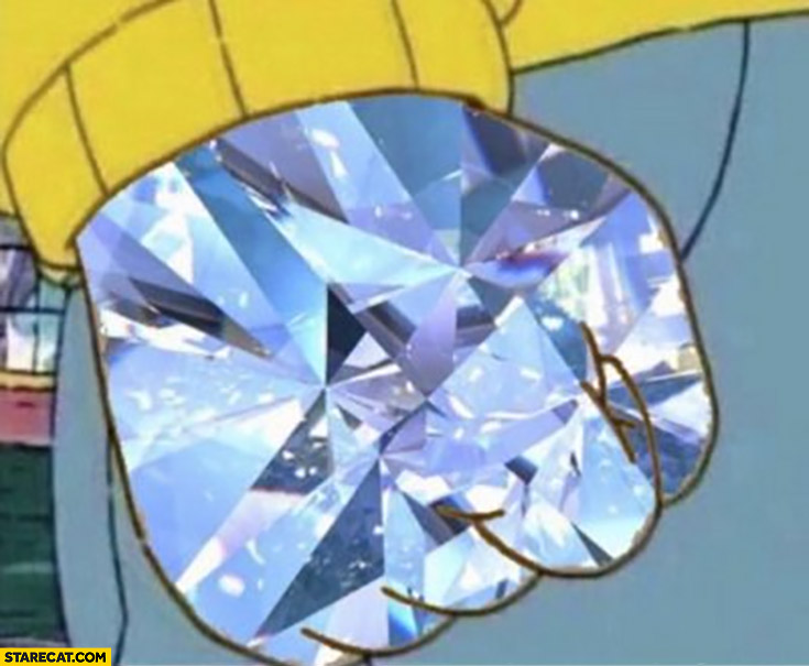 Diamond hands cartoon meme stock market