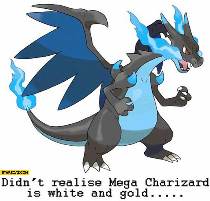 Didn't realise Mega Charizard is white and gold dress
