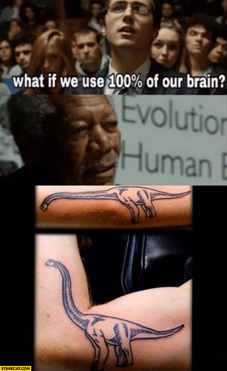 Dinosaur tatoo what if we use 100% percent of our brain?