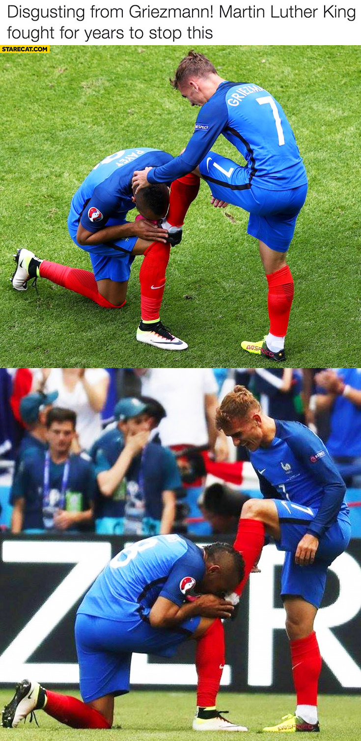 Disgusting from Griezmann, Martin Luther King fought for years to stop this black man kissing his shoe Euro France team