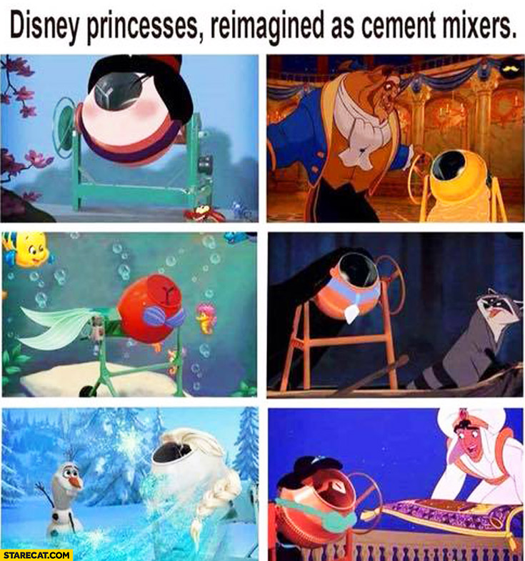 Disney princesses reimagined as cement mixers