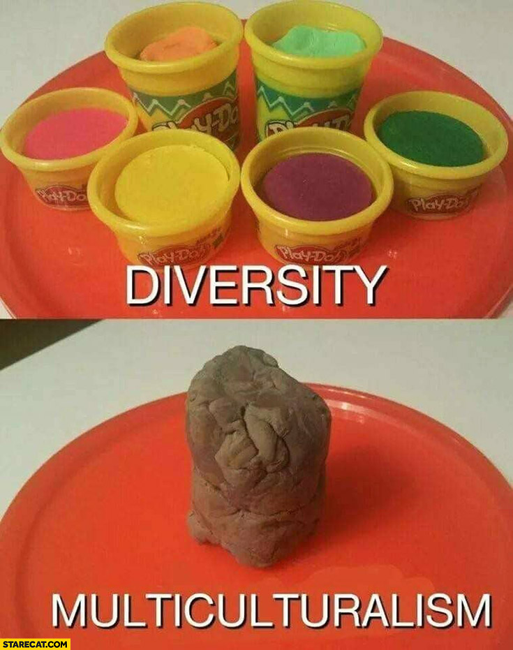 Diversity vs multiculturalism the difference shown on Play-doh