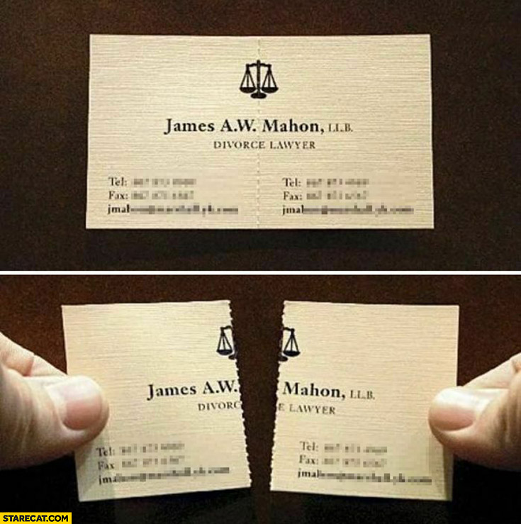 Divorce lawyer creative business card that can be split divided into 2