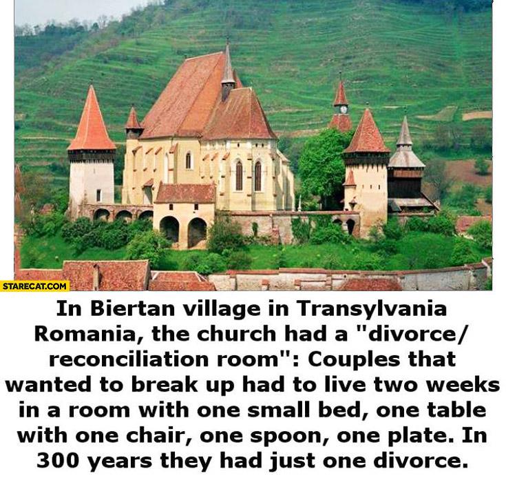 Divorce reconciliation room in Biertan Transylvania Romania