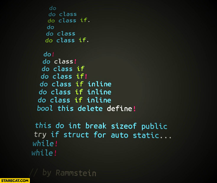Do, do class if Rammstein du hast programming code