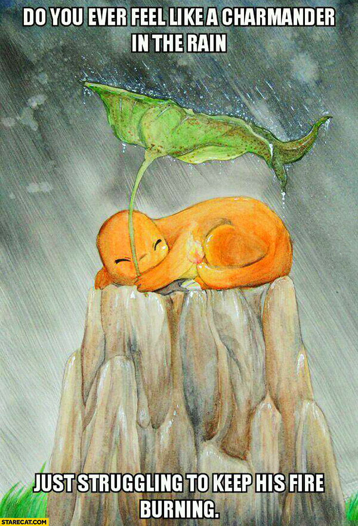 Do you ever feel like a Charmander in the rain just struggling to keep his fire burning